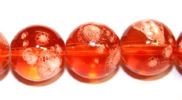35pieces x 12mm Orange colour round shape bubble gum glass beads / speckled glass beads